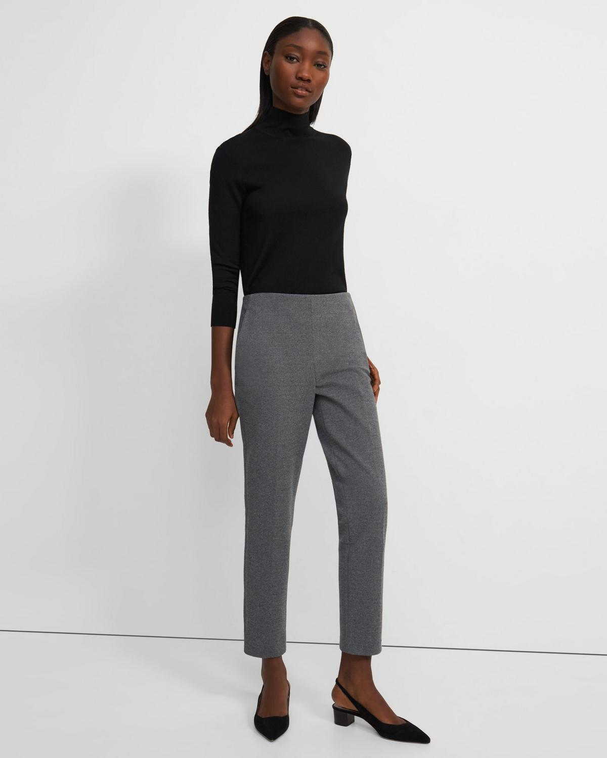 Topstitched Treeca Side Zip Pant in Mélange Ponte