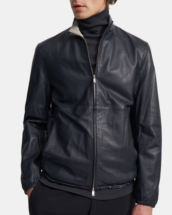 Reversible Jacket in Leather-Nylon