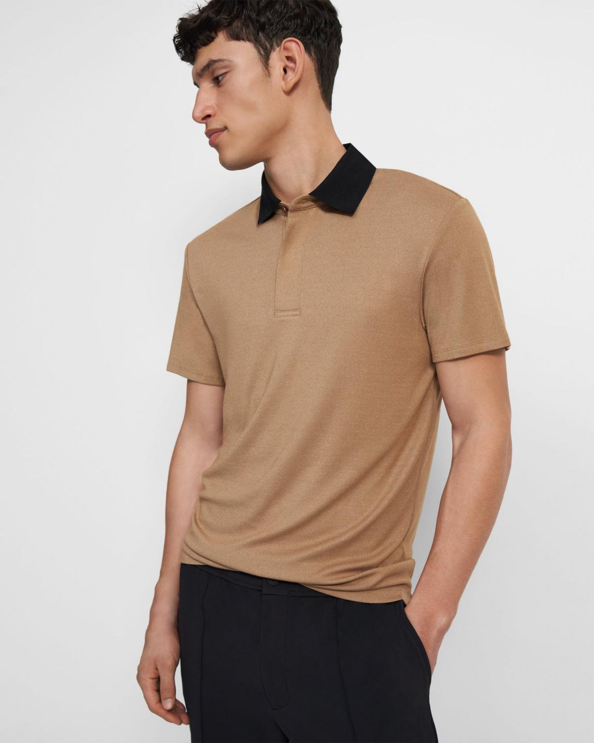 Contrast-Collar Polo in Modal Jersey