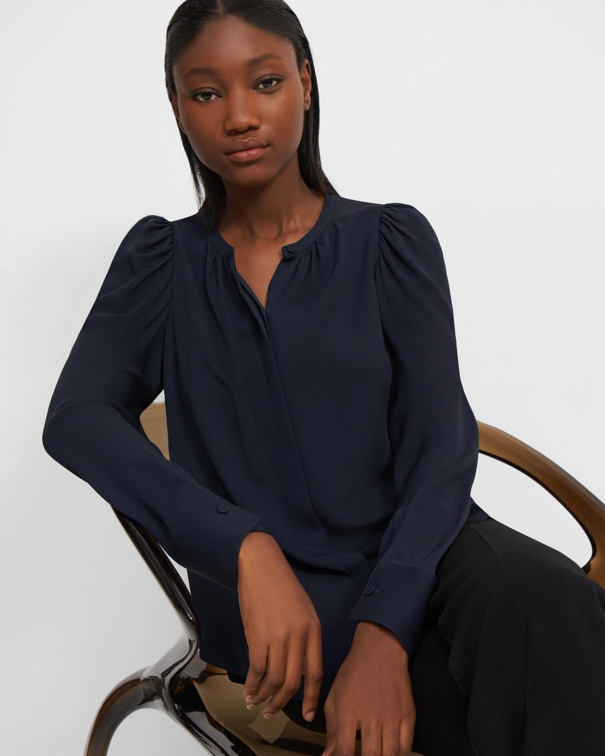 Ruched Blouse in Silk Georgette
