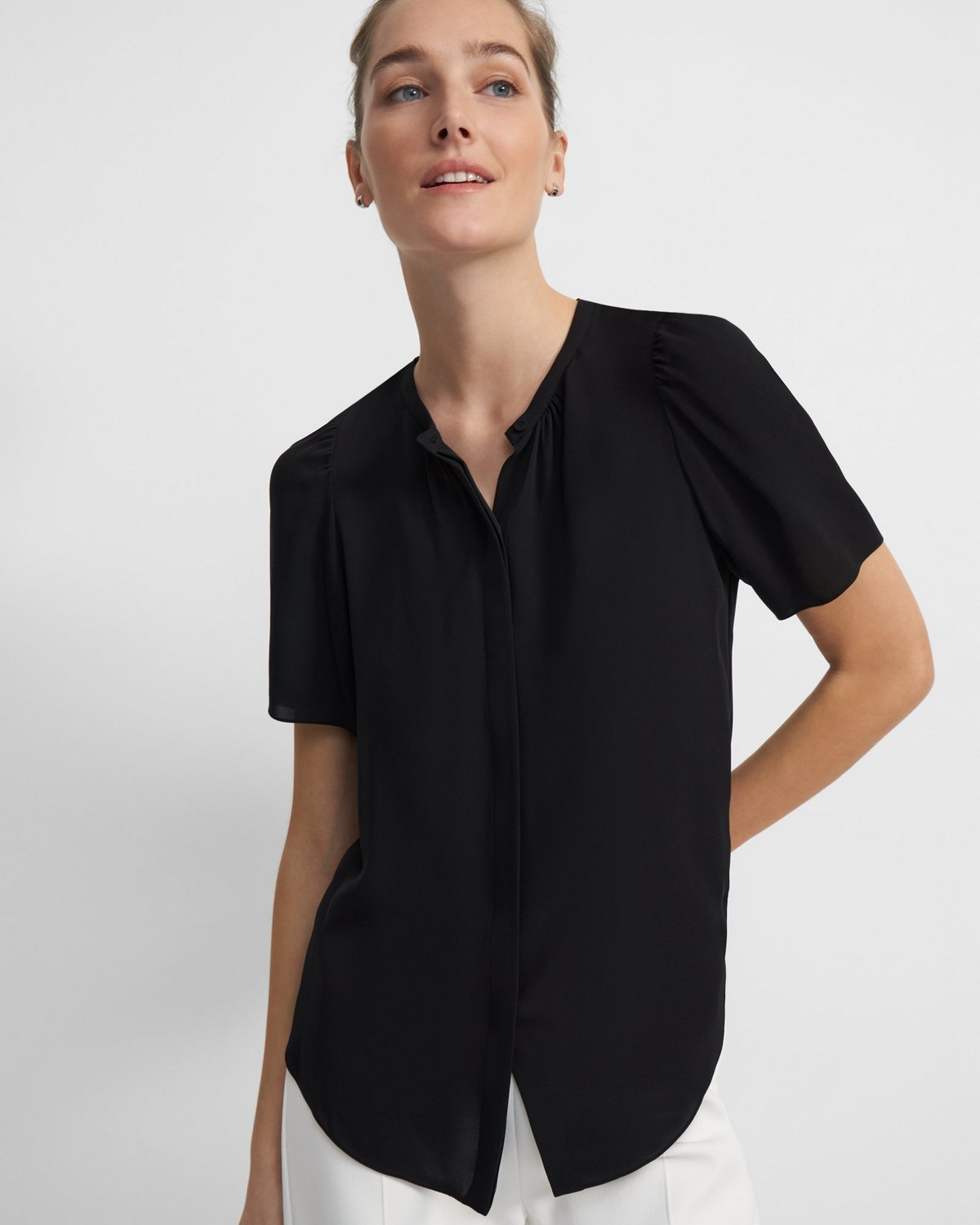 Short-Sleeve Ruched Blouse in Silk Georgette