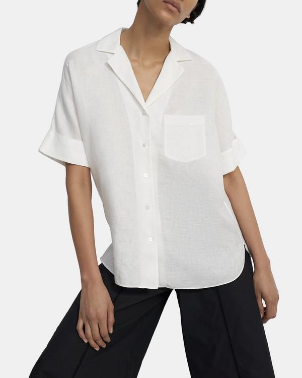 띠어리 셔츠 Theory Button Up Shirt in Spring Linen,WHITE