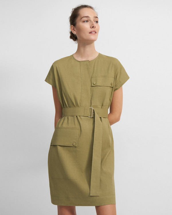 Crewneck Utility Dress in Good Linen