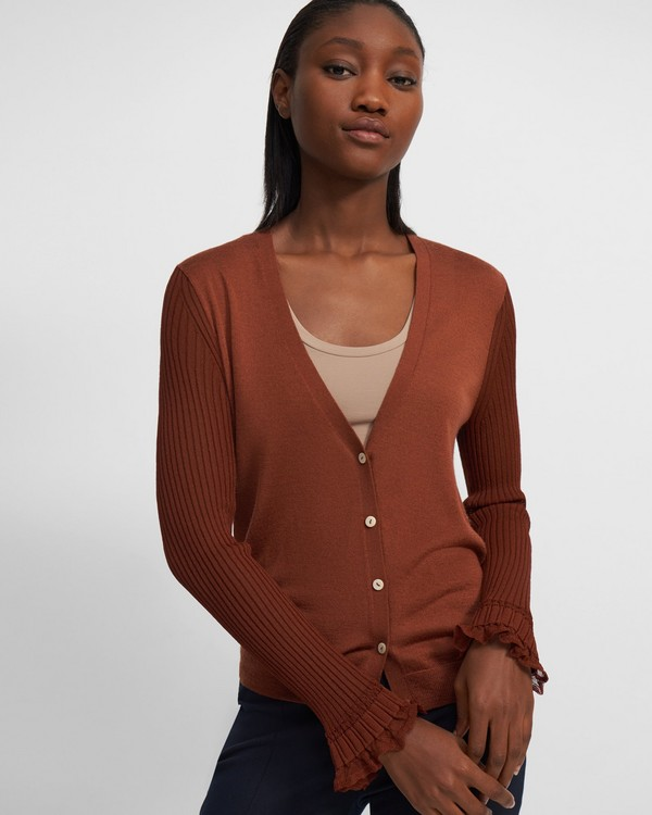 Sheer-Sleeve Cardigan in Wool-Viscose Crepe