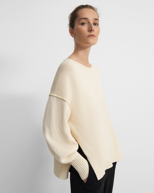 Chunky Slit Sweater in Cotton Chainette