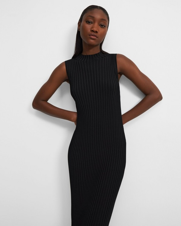 Flared Ribbed Dress in Stretch Knit