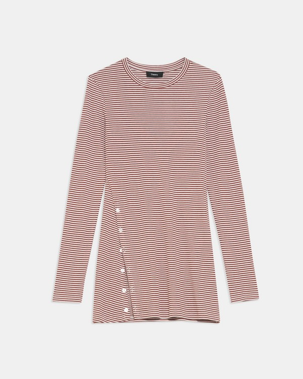 Button-Hem Long-Sleeve Tee in Striped Stretch Knit