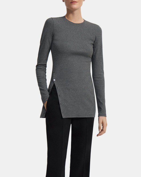 Button-Hem Long-Sleeve Tee in Compact Stretch Knit