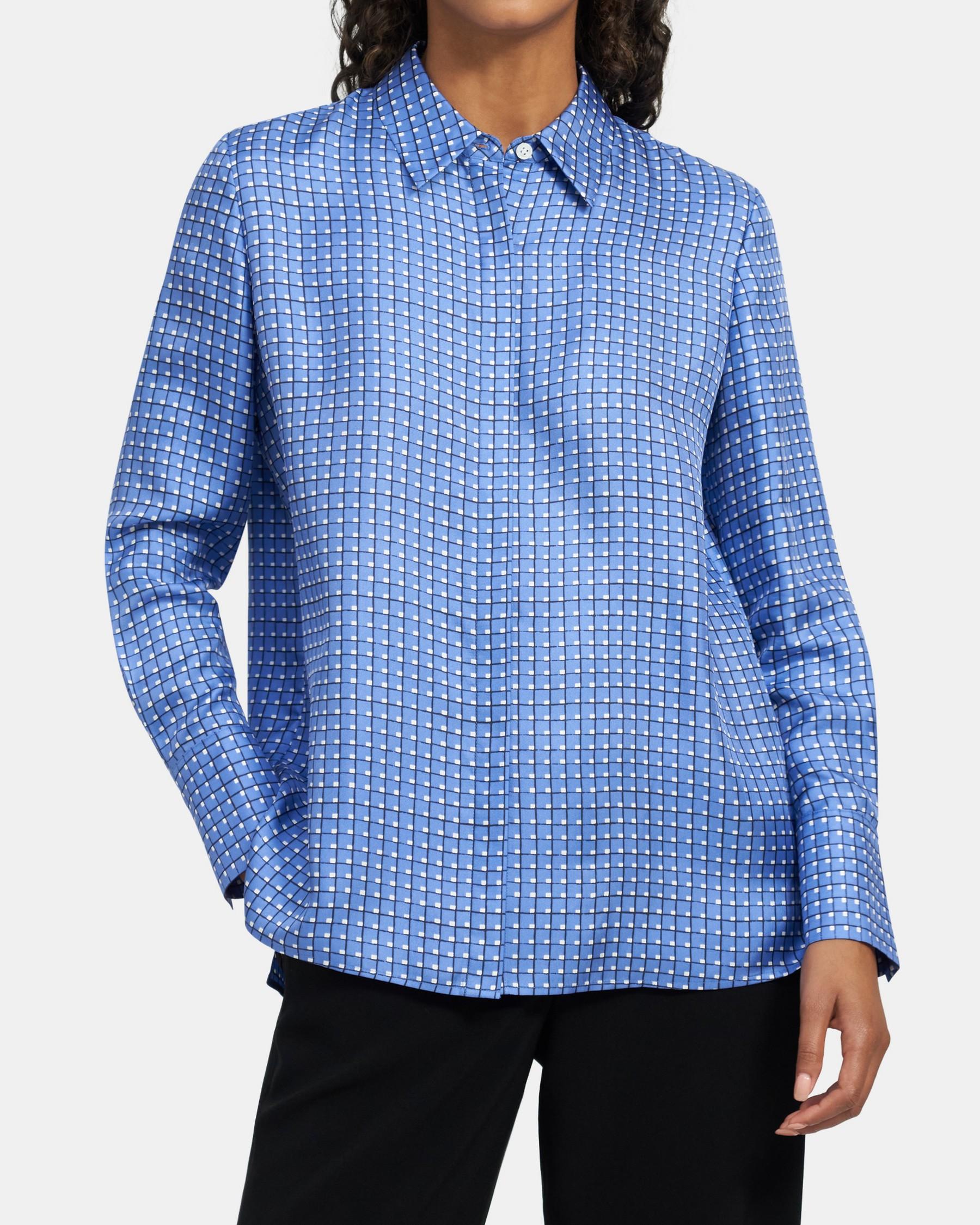 Sunaya Shirt in Color-Blocked Silk   Theory