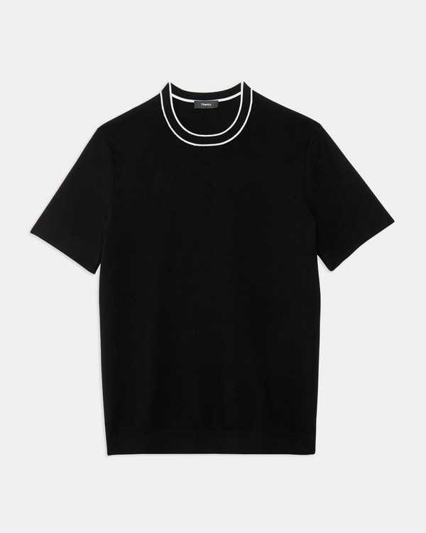 Tipped Crewneck Tee in Fine Bilen