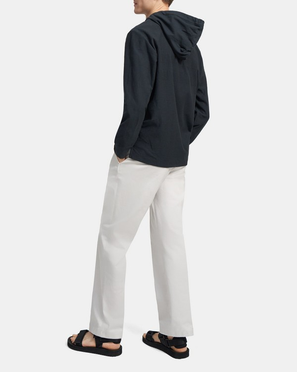 Buttoned Hoodie in Terry Cotton
