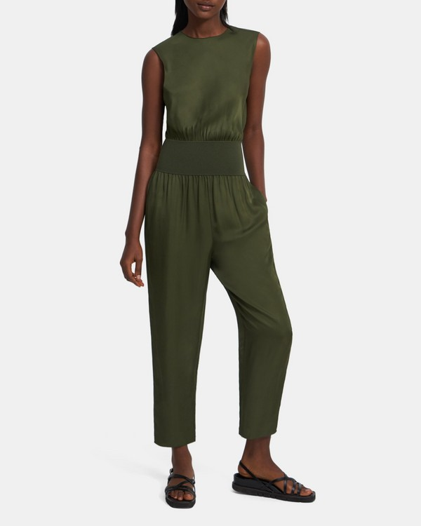 Sleeveless Jumpsuit in Viscose Twill