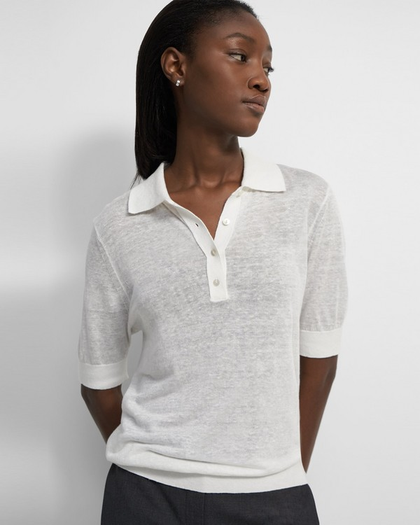 Short-Sleeve Polo in Linen Blend