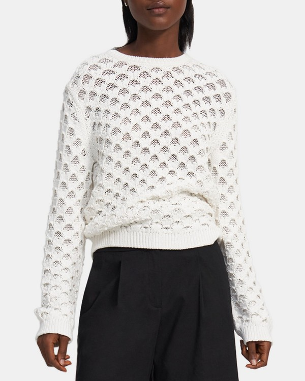 Overlay Mesh Sweater in Looped Cotton