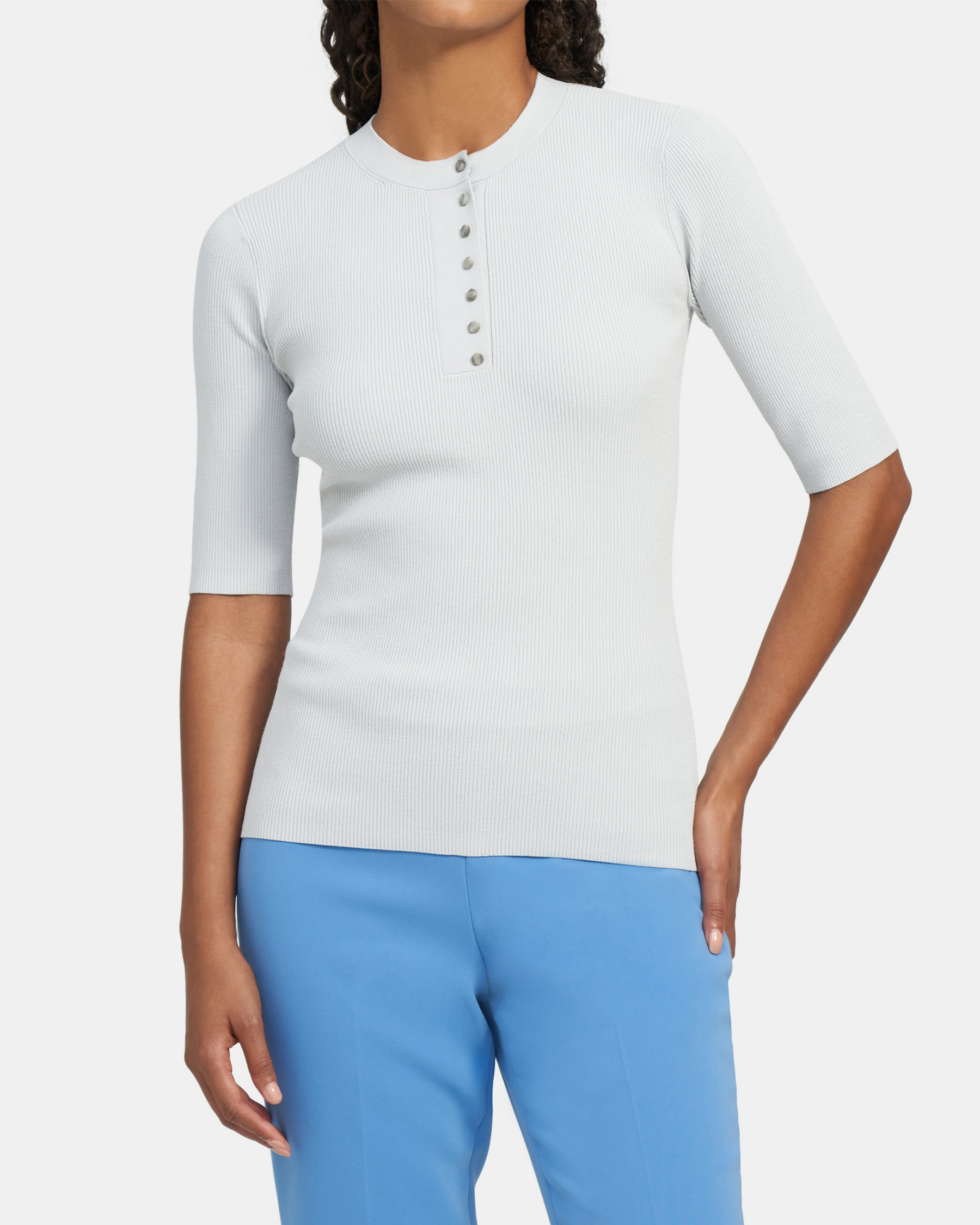 Short-Sleeve Shirt in Compact Sweater Knit   Theory