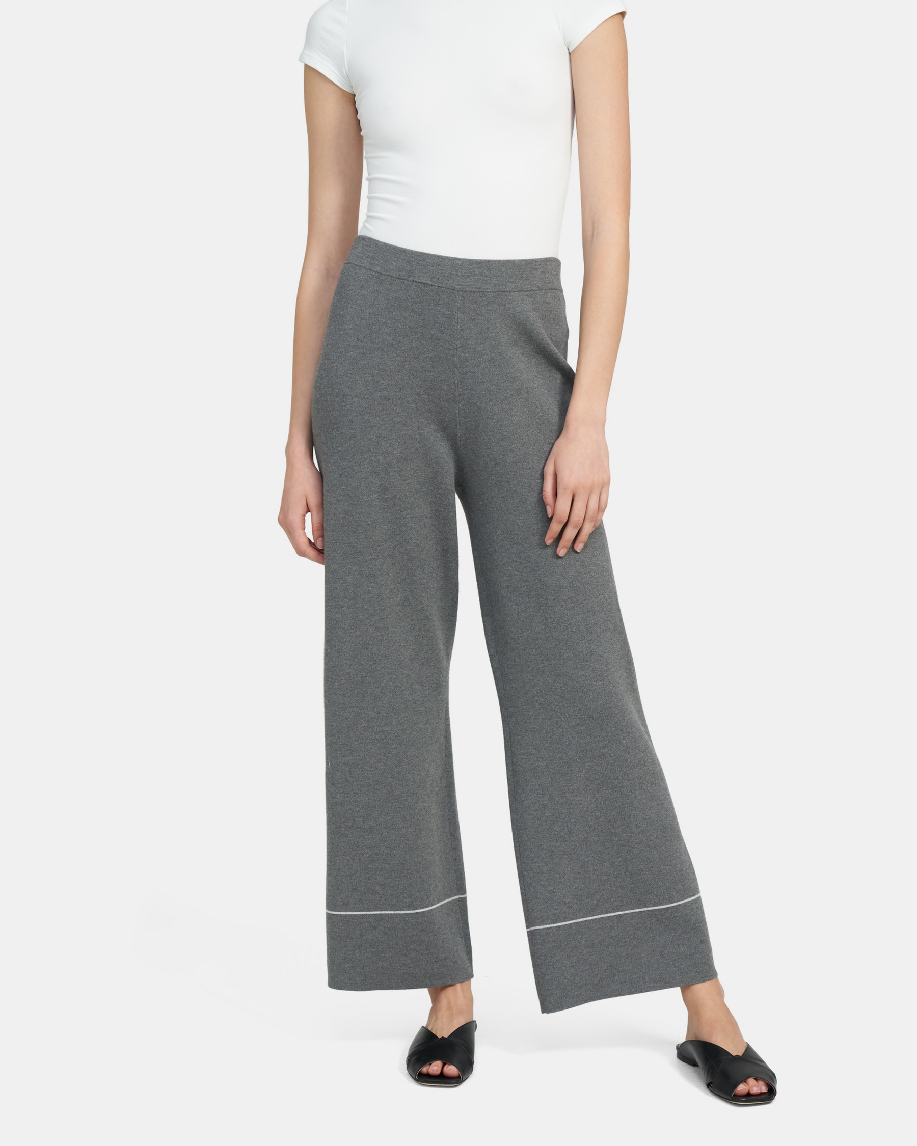 Tipped Knit Pant in Viscose Knit   Theory