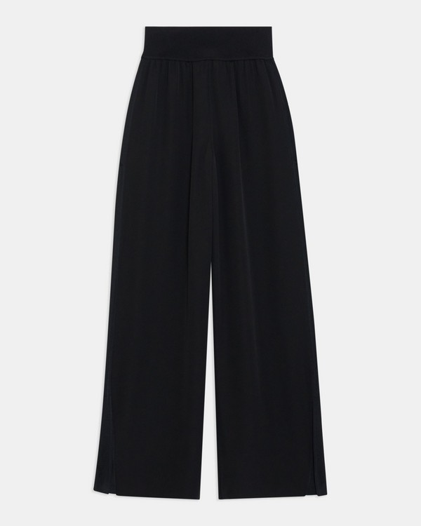 Wide-Leg Pull-On Pant in Silk