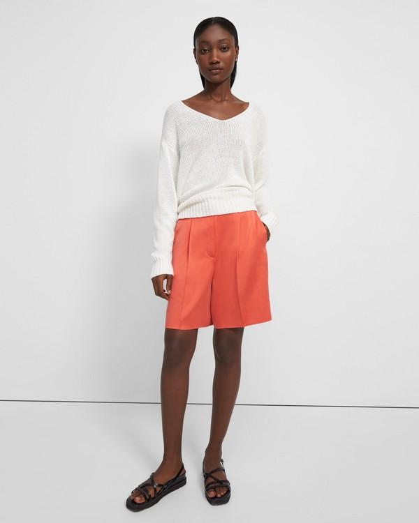 띠어리 반바지 Theory Pleat Trouser Short in Satin,BRIGHT CORAL