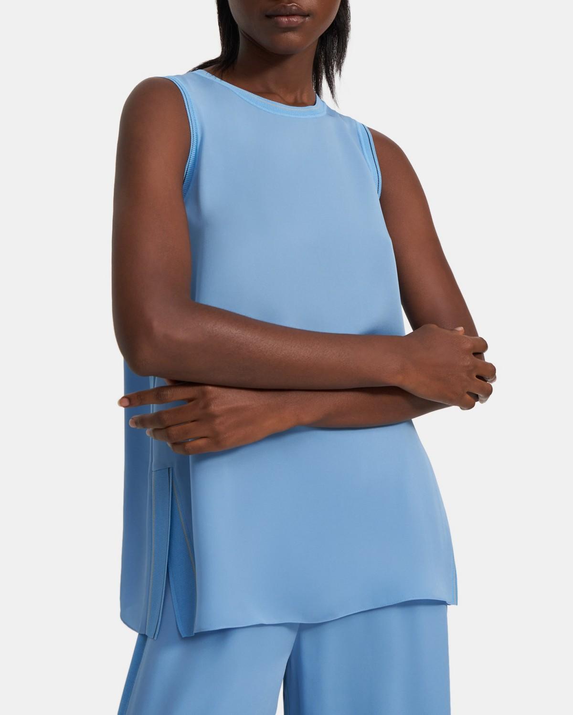 띠어리 민소매탑 Theory Combo Shell Top in Silk,ISLE BLUE