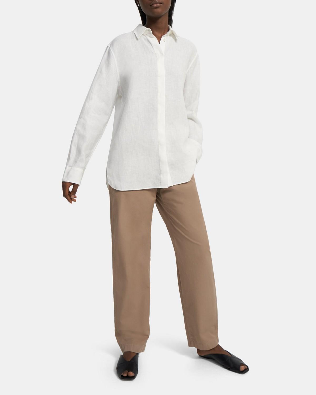띠어리 셔츠 Theory Menswear Shirt in Spring Linen,WHITE