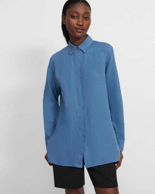 띠어리 셔츠 Theory Menswear Shirt in Spring Linen,DENIM
