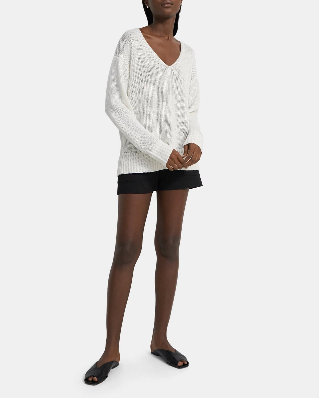띠어리 스웨터 Theory V-Neck Sweater in Knit Linen,WHITE