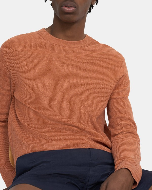 띠어리 풀오버 Theory Crewneck Pullover in Knit Linen,VIVID CORAL