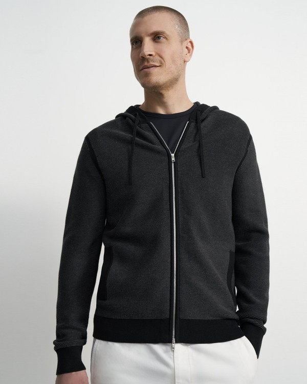Theory Ribbed Zip Hoodie in Organic Cotton