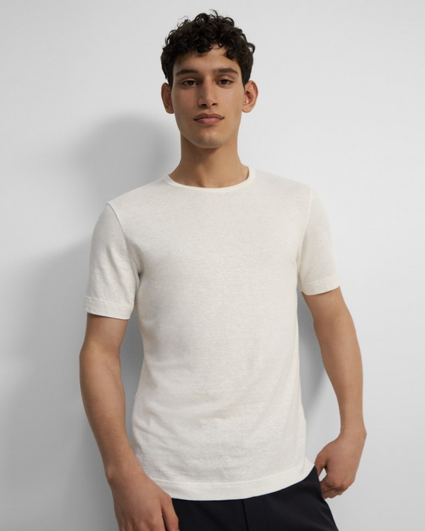 Crewneck Tee in Stretch Linen