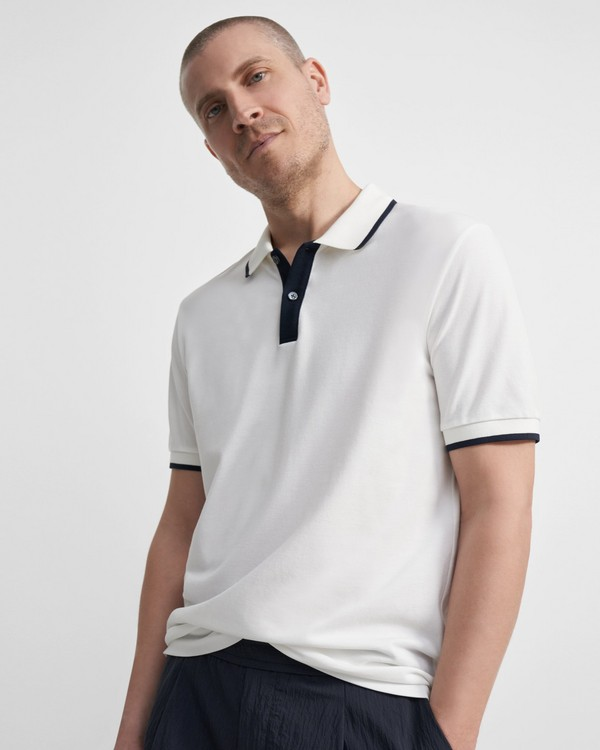 Theory Contrast Polo Shirt in Pima Cotton