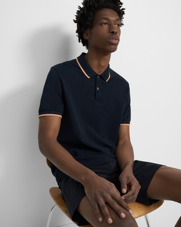 Contrast Polo Shirt in Pima Cotton